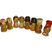 Hand Painted Wood Family Salt and Pepper Shakers - Set of 4