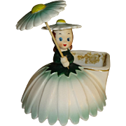 Vintage Napco Birthday Flower Girl Figurine Planter