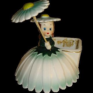 Vintage Napco Birthday Flower Girl Figurine Planter