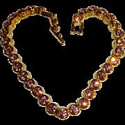 Signed Avon NR Nina Ricci Pink CZ Bezel Set Bracelet