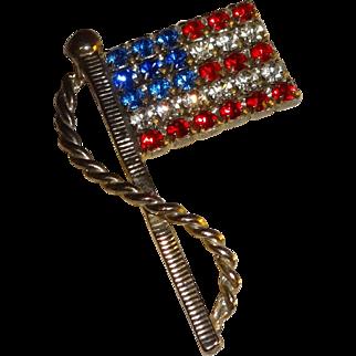 Vintage American Flag Rhinestone Pin Brooch