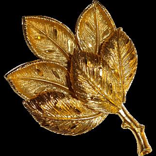 Vintage Gold Tone Textured Leaf Pin Brooch