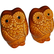 Vintage Brown Owls Salt and Pepper Shakers - Made in Japan