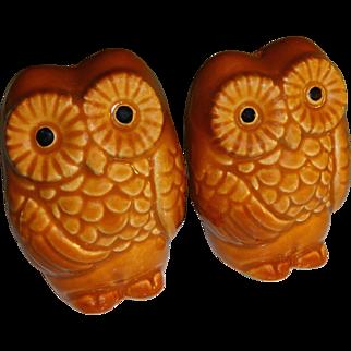 Vintage Brown Owls Salt and Pepper Shakers - Made in Japan