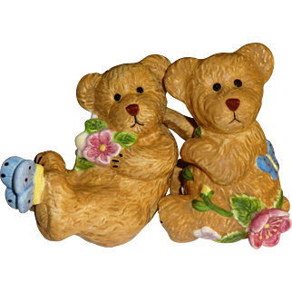 Large Flowered Brown Bears Salt and Pepper Shakers