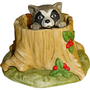 Franklin Mint Woodland Surprises Raccoon Figurine