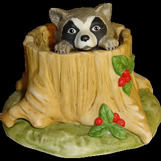 Franklin Mint Woodland Surprises Raccoon Figurine