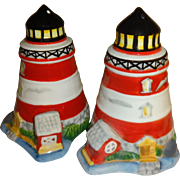 Red and White Striped Light Houses Salt and Pepper Shakers