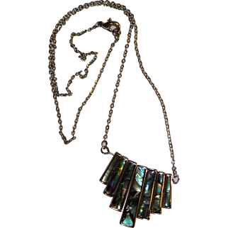 Vintage Linked Silver Tone Abalone Necklace