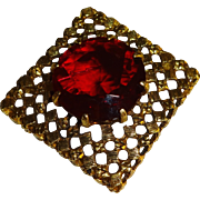 Vintage Square Gold Tone Red Glass Pin