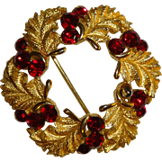 Crown Trifari Leaf and Red Rhinestone Round Pin
