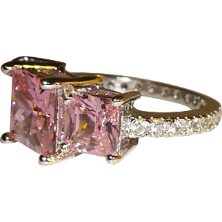 Pink Cushion Cut CZ and Rhinestone Costume Ring - Size 6