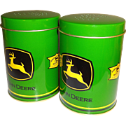 John Deere Metal Cans Salt and Pepper Shakers with Handles - Red Tag Sale Item