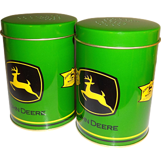John Deere Metal Cans Salt and Pepper Shakers with Handles
