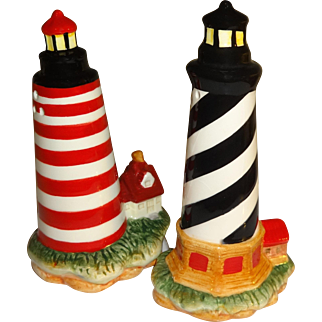 Striped Light Houses Salt and Pepper Shakers
