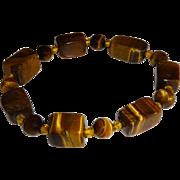 Vintage Tigers Eye Large Beaded Stretch Bracelet
