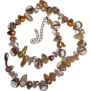 Multi-Colored Baroque Pearls and Glass Bead Necklace