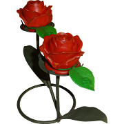 Plastic Roses on Wire Branches Salt and Pepper Shakers