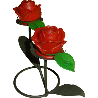Vintage Plastic Roses on Wire Branches Salt and Pepper Shakers