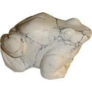Vintage Hand Carved Marble Bull Frog Paperweight