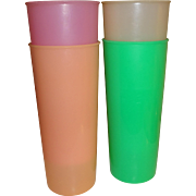 Tupperware Tall Pastel Plastic Cups - Set of 4