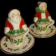 Lenox Santa & Mrs Claus in Tea Cups Salt and Pepper Shakers