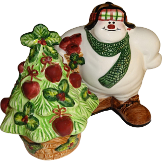 Fitz & Floyd Snowman & Tree Salt and Pepper Shakers