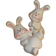 Frolicking White Bunnies Salt and Pepper Shakers