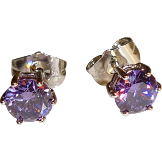 Silver Plated Amethyst CZ Pierced Earrings