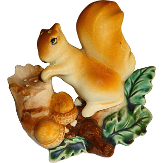 Squirrel on Log Salt and Pepper Shakers