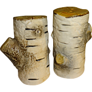 Dept 56 White Birch Tree Stumps Salt and Pepper Shakers - Red Tag Sale Item
