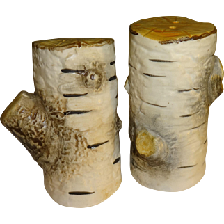 Dept 56 White Birch Tree Stumps Salt and Pepper Shakers