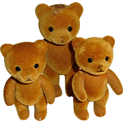 Flocked Jointed Teddy Bears - Set of 3