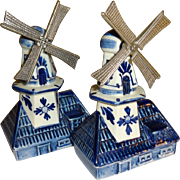 Delft Holland Windmills Salt and Pepper Shakers