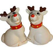 White Reindeer Salt and Pepper Shakers
