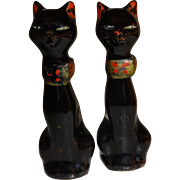 Tall Black Cats Salt and Pepper Shakers
