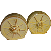 Frankoma Desert Gold Wagon Wheels Salt and Pepper Shakers