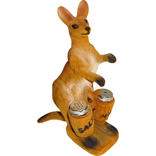 Flocked Kangaroo & Baby Salt and Pepper Shakers