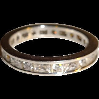 Eternity Band 925 Clear CZ Rhinestone Ring - Size 6