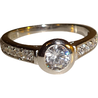 Bezel Set 925 Clear CZ Ring - Size 7 1/2