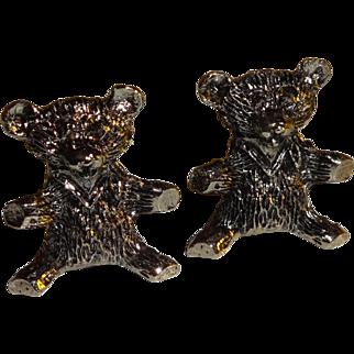 Pair of Miniature Pewter Teddy Bears