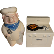 Chef Pig & Stove Clay Art Salt and Pepper Shakers