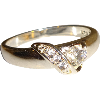 Signed 925 CZ Solitaire and Leaf Ring - Size 8