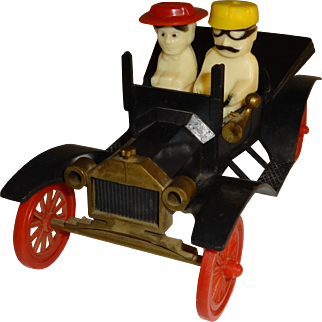 Plastic People Salt and Pepper Shakers Driving Model T Car
