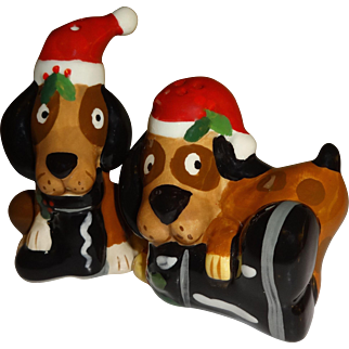 Christmas Dogs with Boots Salt and Pepper Shakers