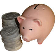 Pink Piggy Bank & Coins Salt and Pepper Shakers