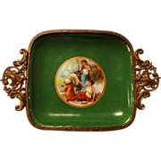 Antique French Hand Painted Porcelain Ormolu Framed Pin Tray