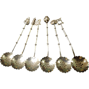 Vintage Asian Inspired Sterling Silver Condiment Spoon Set