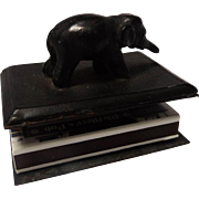 19th Century Bronze Elephant Match Box Holder