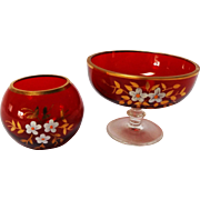 Bohemian Ruby Glass Vanity Vessels